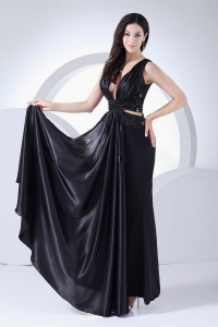 Sexy V-neck Prom Dress Elastic Woven Satin Ankle-length