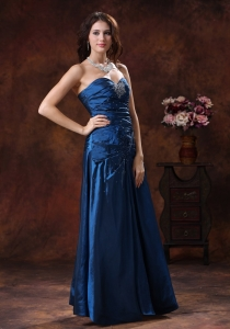 Sky Blue Strapless Beaded Sweetheart Prom Evening Dress