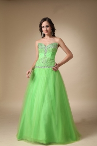 Spring Green Sweetheart Taffeta and Tulle Beading Prom Dress