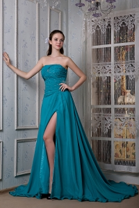 Teal High-Slit Chiffon and Elastic Woven Satin Evening Dress