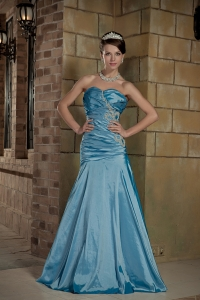 Teal A-line Sweetheart Brush Train Beading Prom Dress