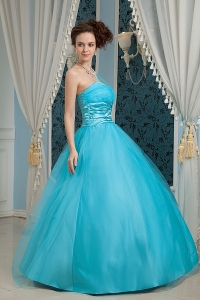 Teal One Shoulder Tulle and Taffeta Appliques Prom Dress