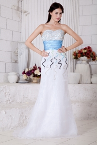 Sweetheart Brush Train Organza Beading Prom Evening Dress