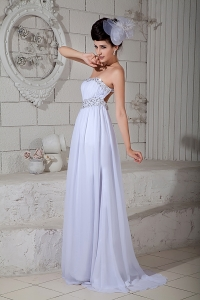 White Strapless Prom Dress Brush Train Chiffon Beading