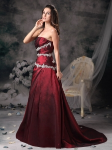 Wine Red Brush Train Taffeta Appliques Prom Evening Dress