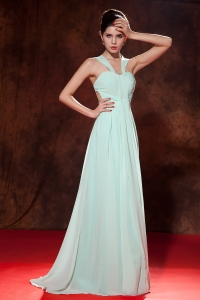 Apple Green Straps Floor-length Chiffon Prom Dress