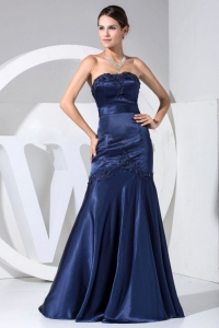Appliques With Beading Bodice Navy Blue Mermaid Prom Dress