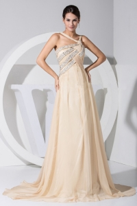 Asymmetrical Beading Champagne Chiffon Brush Train Prom Dress