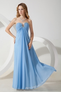 Baby Blue Sweetheart Chiffon Beading Prom Evening Dress