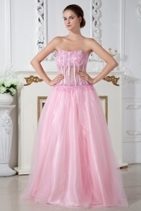 Baby Pink Sweetheart Brush Train Tulle Appliques Prom Dress