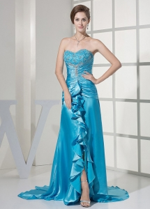 Beaded Decorate Bust Ruched Bodice Rolling Ruffles Teal Prom Dress