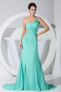 Beading Bodice One Shoulder Turquoise Prom Dress