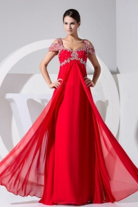 Cap Sleeves Sweetheart Beaded Red Chiffon Prom Dress