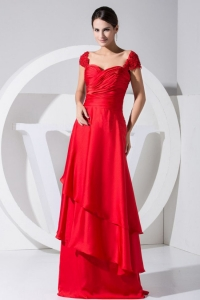 Beading and Ruch Red Straps Brush Train Prom Dress