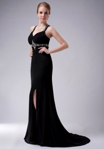 Black Straps Brush Train Beading Evening Celebrity Dress