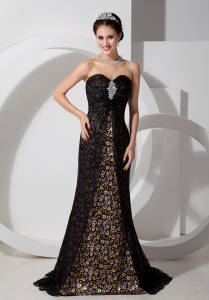 Black Tulle over Pringting Flower Celebrity Evening Dresses