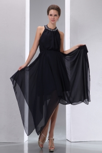 Black High-low Halter Asymmetrical Chiffon Beading Prom Dress