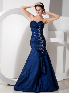 Royal Blue Mermaid Beading and Ruch Celebrity Dresses