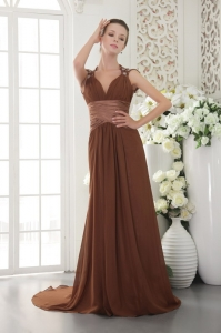 Brown Empire V-neck Brush Train Beading Prom / Evening Dress