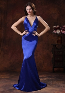 Brush Train V-neck Royal Blue Mermaid Prom Evening Dress