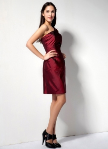 Burgundy Cocktail Holiday Dresses One Shoulder Ruched Bodice