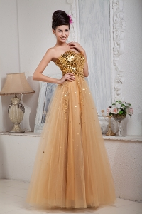 Champagne A-line Sweetheart Tulle Sequins Prom Dress