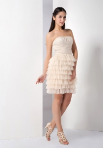 Champagne Ruffled Layers Cocktail Homecoming Dresses
