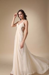 Champagne Straps Beading and Ruch Prom Evening Dress