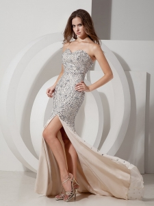 Champagne Mermaid Rhinestone Celebrity Evening Dresses