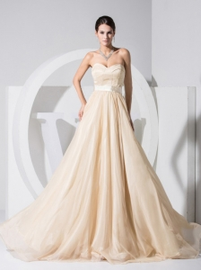 Champagne Sweetheart Chiffon Brush Train Prom Dress