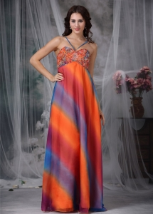 Colorful Straps Floor-length Beading Celebrity Evening Dress