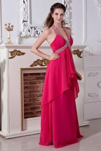 Coral Red V-neck Beaded Halter Chiffon Prom Evening Dresses
