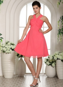 Watermelon Ruched Decorate Bust Cocktail Holiday Dresses