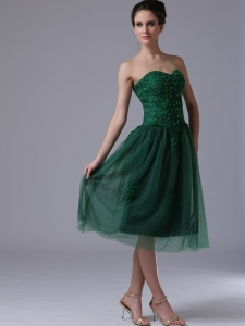 Dark Green Sweetheart Dama Dresses for Quinces With Beading