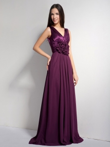 Dark Purple V-neck Hand Made Flower Prom Evening Dress