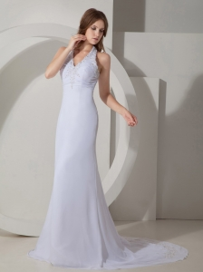 Halter Court Train Chiffon Beading Evening Celebrity Dress