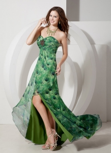 Elegant Slit Printing Beading Celebrity Evening Dresses