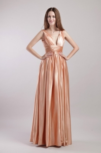 High-class Empire V-neck Prom Dress with Straps in Spring