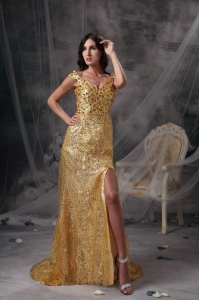 Gold V-neck Sequins Beading Ruch Prom Celebrity Dress