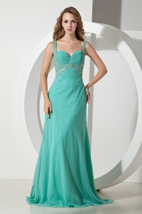 Turquoise Beaded Straps Brush Train Chiffon Prom Dress