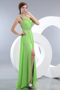 Green One Shoulder Brush Train Beading Prom / Evening Dress
