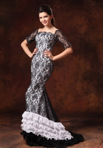 Half Sleeves Square Lace Brush Designer Prom Celebrity Dresses