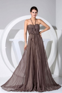 Halter Pleat Bodice Brown Chiffon Brush Train Prom Dress