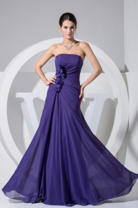 Hand Made Flowers Decorate Bodice Purple Prom Dress