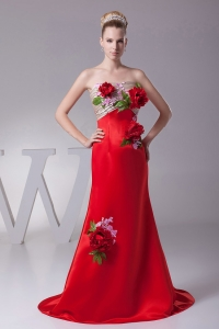 Hand Made Flowers and Appliques Custom Made Prom Dress