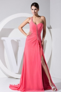 High Slit One Shoulder Beading Watermelon Red Prom Dress