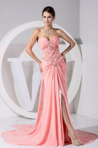 High Slit Sweetheart Beading and Brush Train Prom Dress