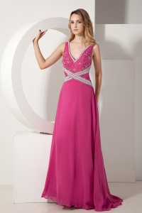 Hot Pink Prom dress V-neck Chiffon Appliques Beading