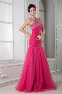 Hot Pink Mermaid One Shoulder Beading Prom Dress