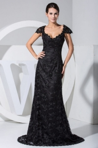 Lace With Beading Scoop Cap Sleeves Prom Evening Dress